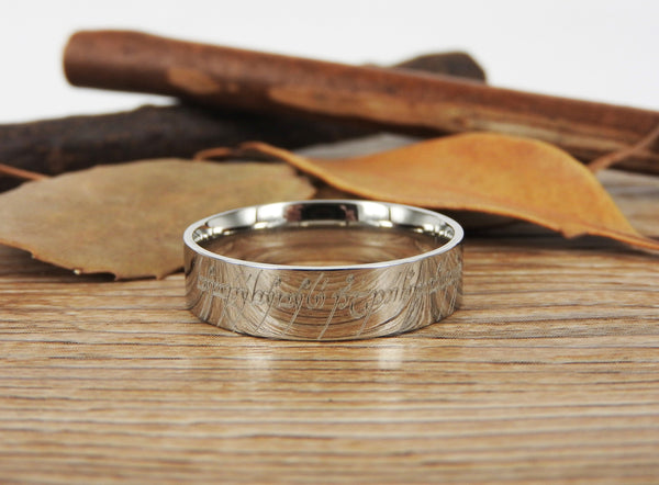 Handmade Flat Polish Custom Your words in Elvish Tengwar, Lord of the Rings, Wedding Bands, Couple Ring, Titanium Ring  Anniversary Ring