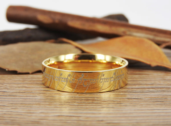 Handmade Flat Polish Custom Your words in Elvish Tengwar, Lord of the Rings, Wedding Bands, Couple Ring, Titanium Ring, Anniversary Ring