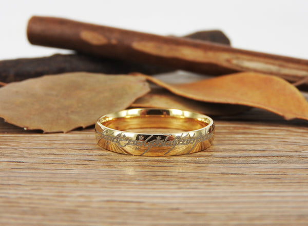 Handmade Gold Filled Dome Custom Your words in Elvish Tengwar, Wedding Bands, Couple Ring, Titanium Anniversary Ring