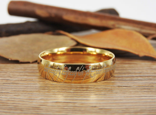 Handmade Dome Shape, Custom Your words in Elvish Tengwar, Lord of the Rings, Matching Wedding Bands, Couple Rings, Anniversary Rings