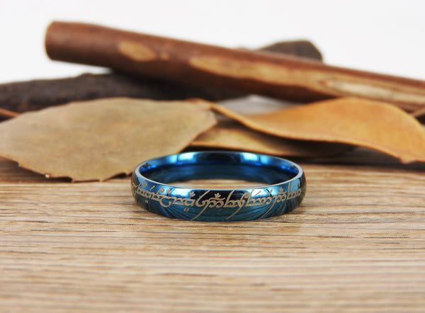 Handmade Blue Dome shape Custom Your words in Elvish, Lord of the Rings , Matching Wedding Bands, Couple Rings, Titanium Rings, Anniversary Rings