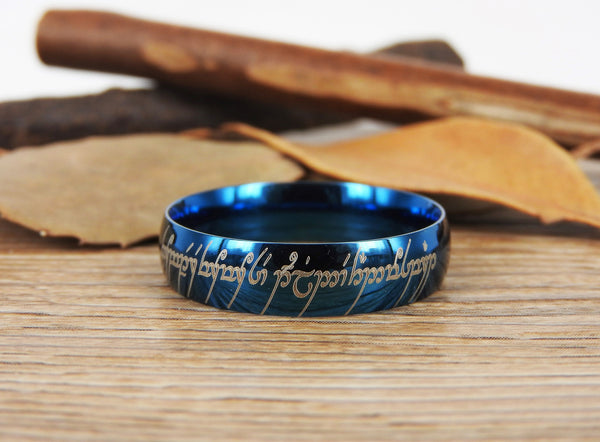 Handmade Blue Dome shape Custom Your words in Elvish, Lord of the Rings , Matching Wedding Bands, Couple Rings, Titanium Rings, Anniversary Rings - jringstudio