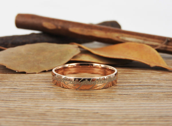 Handmade Rose Gold Filled Dome Custom Your words in Elvish Tengwar, Wedding Bands, Couple Ring, Titanium Anniversary Ring