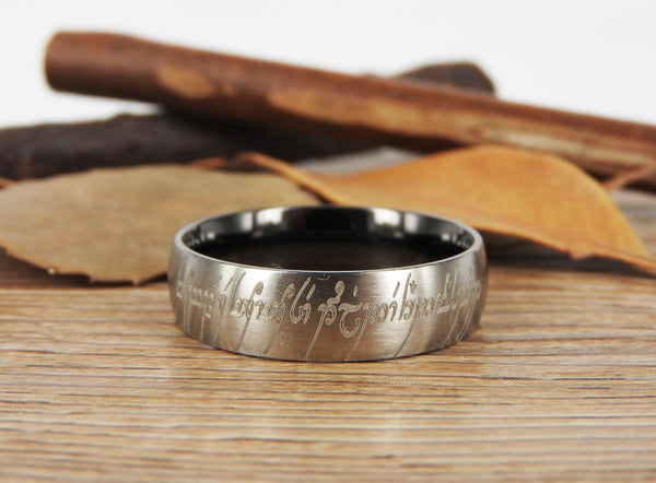 Handmade Two Tone Dome shape Custom Your words in Elvish, Lord of the Rings , Matching Wedding Bands, Couple Rings, Titanium Rings, Anniversary Rings