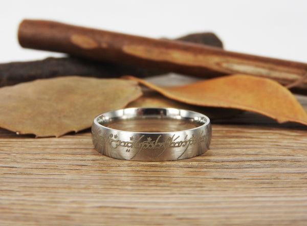 Handmade Dome shape Custom Your words in Elvish Tengwar, Lord of the Rings, Wedding Bands, Couple Ring, Titanium Ring  Anniversary Ring