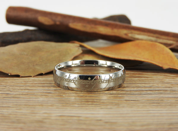 Handmade Dome shape Custom Your words in Elvish Tengwar, Lord of the Rings, Wedding Bands, Couple Ring, Titanium Ring  Anniversary Ring - jringstudio