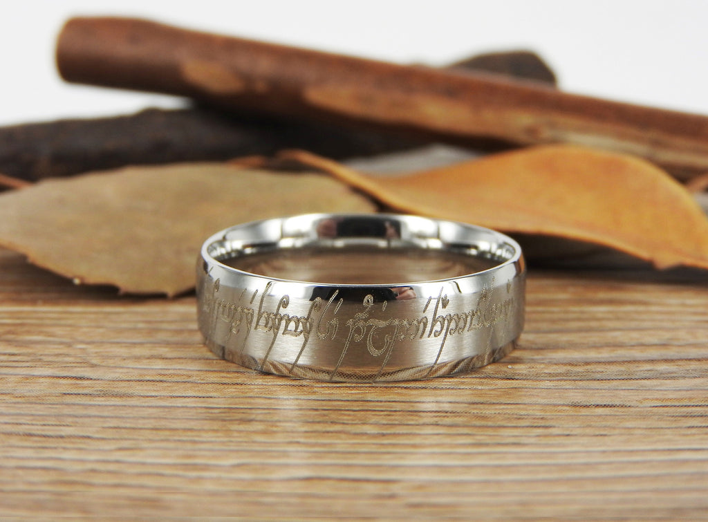 Lord Of The Rings Wedding Band.Handmade Dome Shape Custom Your Words In Elvish Tengwar Lord Of The Rings Wedding Bands Couple Ring Titanium Ring Anniversary Ring