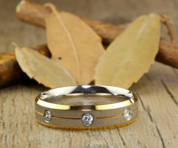 His and Her Couple, Two Tone Gold & White Gold, Matt, Diamonds Wedding Titanium Rings Set