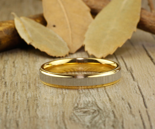 Handmade Gold Matte Wedding Band, Women Ring, Couple Ring, Titanium Ring, Anniversary Ring, Promise Ring, Bridal Ring