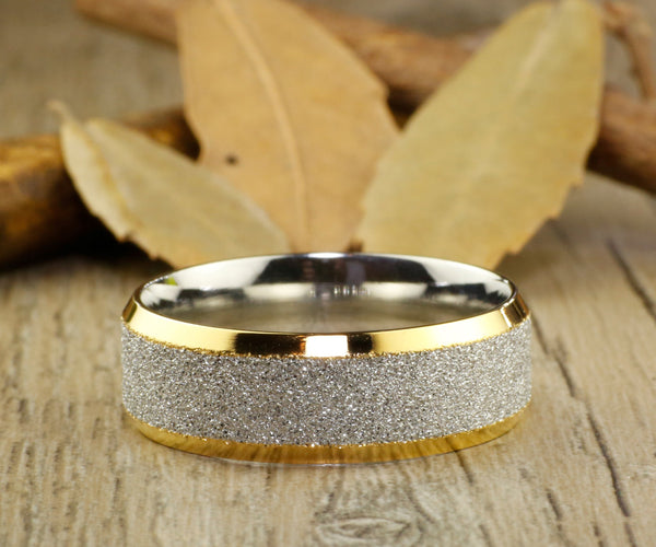 Handmade Two Tone Sparkle Gold His&Her Matching Wedding Anniversary Titanium Rings Set Comfort Fit