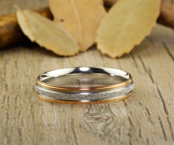 Handmade Rose Gold Matching Wedding Band, Women Ring, Couple Ring, Titanium Ring, Anniversary Ring, Bridal Ring, Promise Ring, Bride Ring