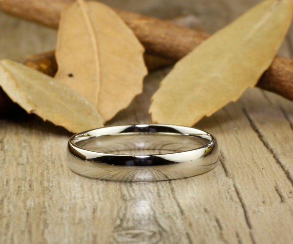 Handmade Dome Plain Matching Wedding Bands, Couple Rings Set, Titanium Rings Set, Anniversary Rings Set - jringstudio