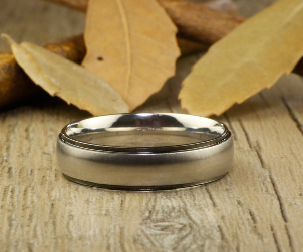 Handmade Dome Matte Wedding Band, Men Ring, Couple Ring, Titanium Ring, Anniversary Ring - jringstudio