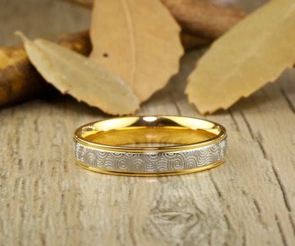Handmade Gold Wedding Band, Golden Wedding Ring, Bridal Ring, Promise Ring, Women Ring, Couple Ring, Titanium Ring, Anniversary Ring