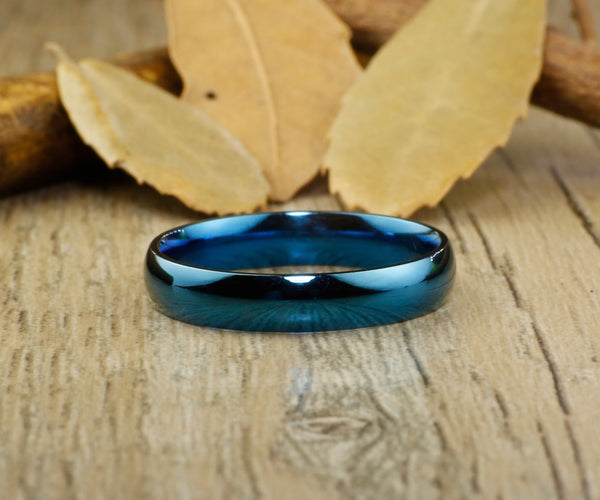 Handmade Blue Dome Plain Matching Wedding Bands, Couple Rings Set, Titanium Rings Set, Anniversary Rings Set - jringstudio