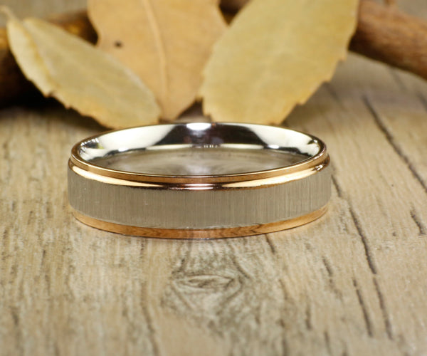 Handmade Rose Gold Matte Matching Wedding Band, Men Ring, Couple Ring, Titanium Ring, Anniversary Ring