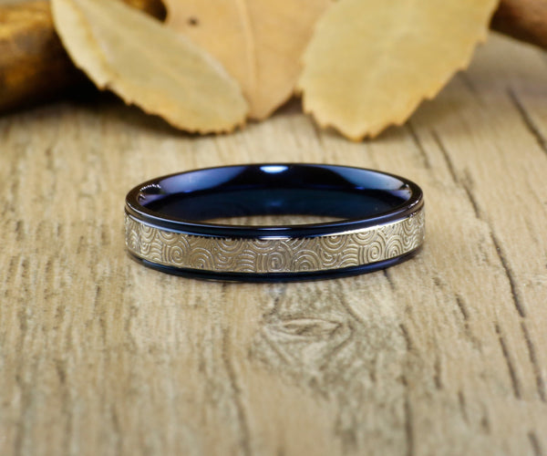 Unique Blue Wedding Bands, Couple Rings Set, Titanium Rings Set, Anniversary Rings Set
