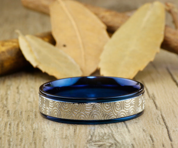 Handmade Blue Wedding Band, Men Ring, Couple Ring, Titanium Ring, Anniversary Ring, Promise Ring - jringstudio