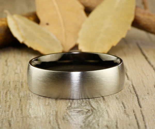 Handmade Black Dome Matte Wedding Bands, Couple Rings Set, Titanium Rings Set, Anniversary Rings Set