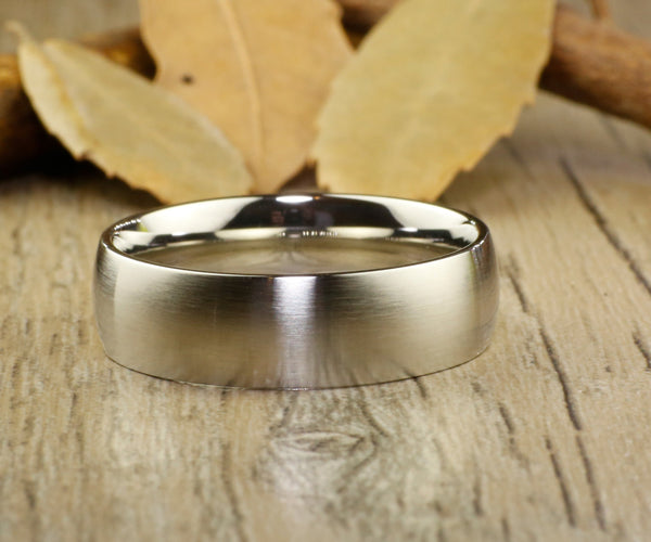 Handmade Dome Matte Wedding Bands, Couple Rings Set, Titanium Rings Set, Anniversary Rings Set - jringstudio
