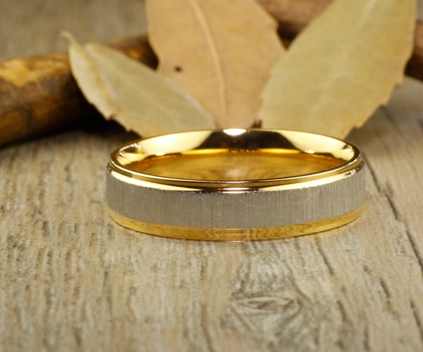Handmade Gold Matte Wedding Band, Men Ring, Couple Ring, Titanium Ring, Anniversary Ring, Promise Ring