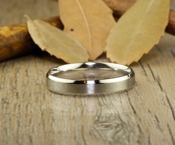 Handmade Matte Wedding Bands, Couple Rings Set, Titanium Rings Set, Anniversary Rings Set