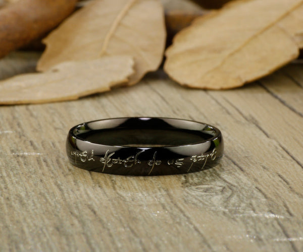 Dome Shaped Bands: Handmade Black Dome Shape Custom Your Words In Elvish