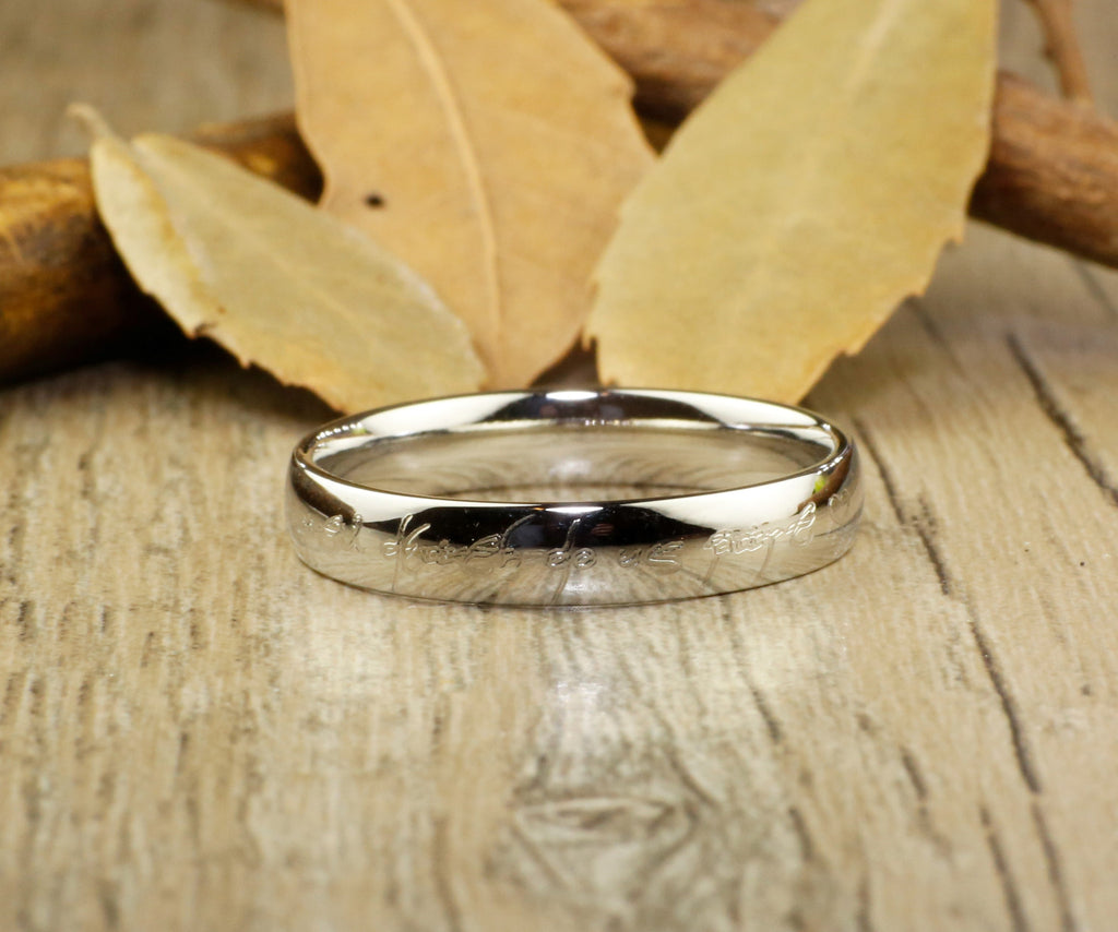 handmade dome shape custom your words in elvish tengwar lord of the rings matching - Lord Of The Rings Wedding Ring