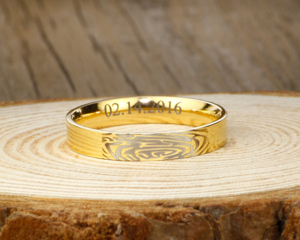 Your Actual Finger Print Rings, Personalize PROMISE RING , Gold Titanium Rings 4mm