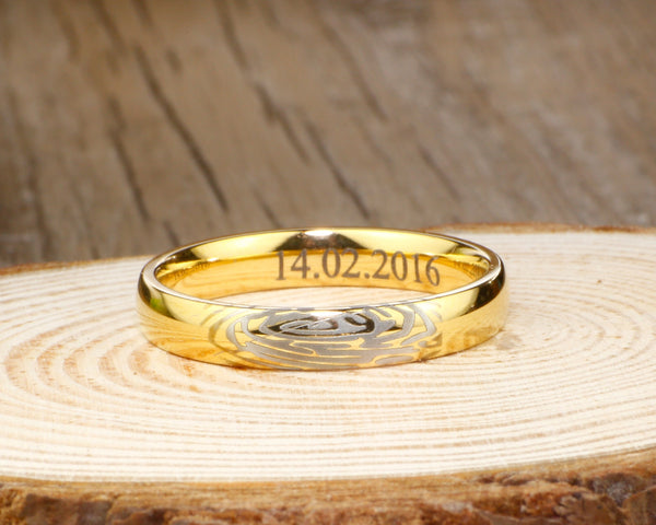 Your Actual Finger Print Rings, Handmade 18K Gold Wedding Anniversary Ring 4mm