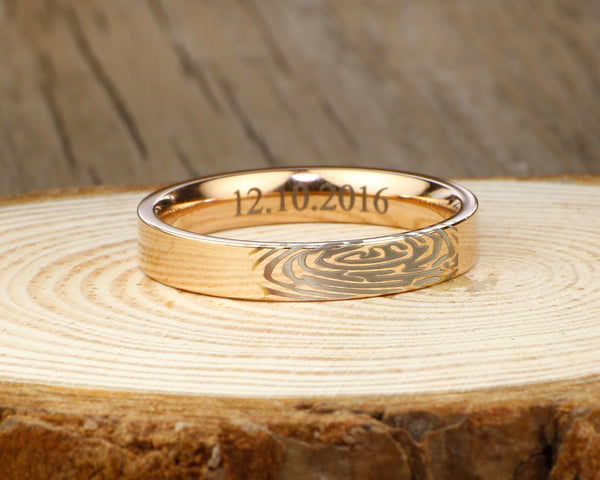 Your Actual Finger Print Rings, PROMISE RING - Rose Gold Titanium Rings 4mm