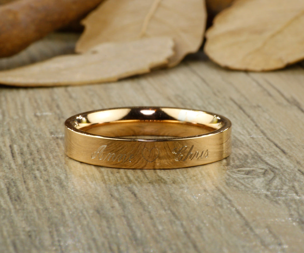 Custom Elvish Tengwar Lord of the Rings Rose Gold Flat Matching Wed
