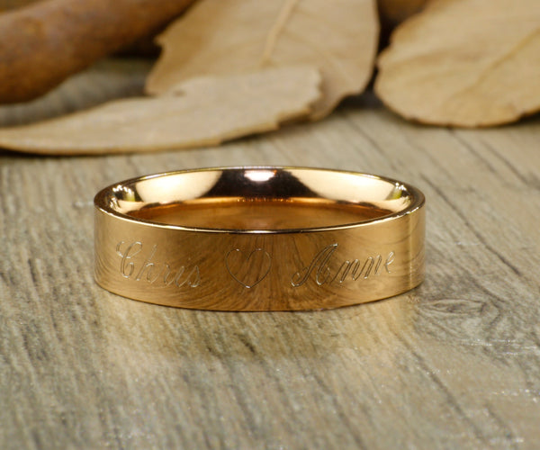 Custom Elvish Tengwar, Lord of the Rings, Rose Gold Flat, Matching Wedding Bands, Couple Rings Set, Titanium Rings Set, Anniversary Rings Set - jringstudio