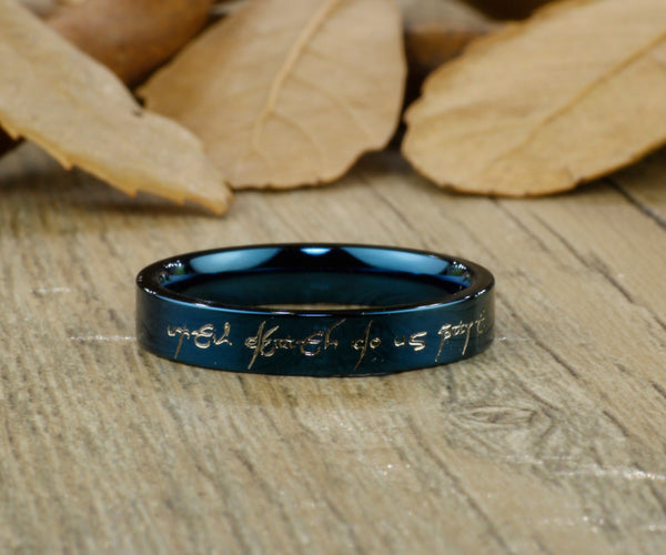 Handmade Blue Flat shape Custom Your words in Elvish, Lord of the Rings,  Matching Wedding Bands, Couple Rings Set, Titanium Rings Set, Anniversary Rings Set - jringstudio