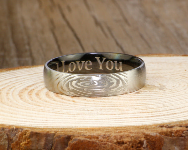 Your Actual Finger Print Rings, Handmade Women Dome RINGS - Two Tone Black Titanium Rings 5mm