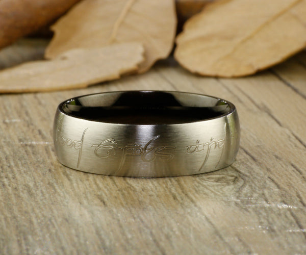 Handmade Black Dome shape Custom Your words in Elvish, Lord of the Rings,  Matching Wedding Bands, Couple Rings Set, Titanium Rings Set, Anniversary Rings Set - jringstudio