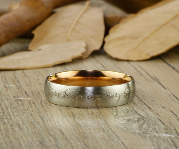 Rose Gold Dome Custom Your words in Elvish Tengwar, Lord of the Rings, Matching Wedding Bands, Couple Rings Set, Titanium Rings Set, Anniversary Rings Set