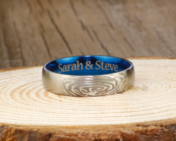 Your Actual Finger Print Rings, His and Her Rings, WEDDING RING -- Personalized Matt Two Tone Blue Wedding Titanium Rings Set