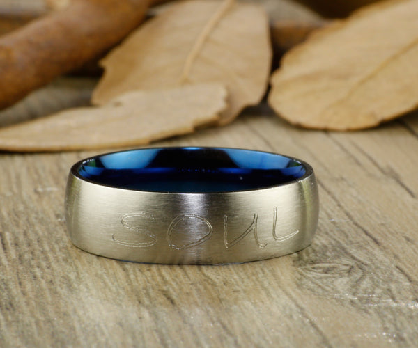 Handmade Blue Dome shape Custom Your words in Elvish, Lord of the Rings,  Matching Wedding Bands, Couple Rings Set, Titanium Rings Set, Anniversary Rings Set - jringstudio