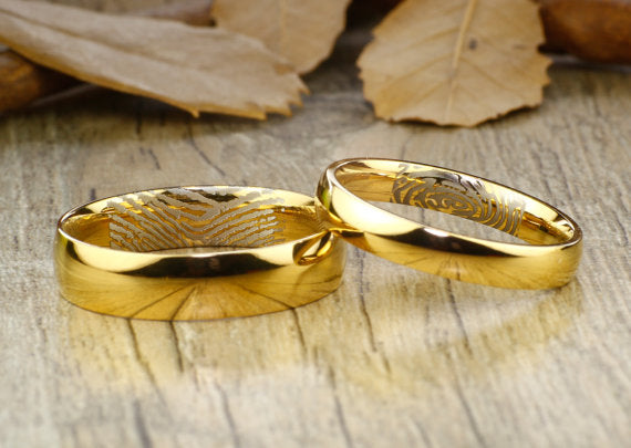 Your Actual Finger Print Rings, His & Hers Mens Womens Matching 18K Gold Wedding BandsTitanium Rings Set Free Engraving New
