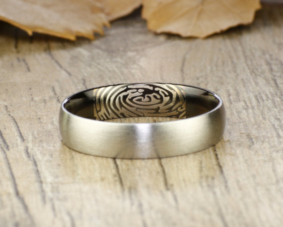 Your Actual Finger Print Rings, Handmade Women Dome RINGS - Two Tone Black Titanium Ring 5mm
