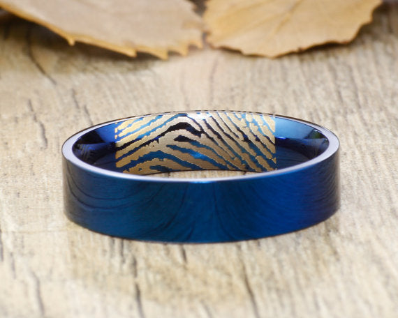 Your Actual Finger Print Rings, Handmade Blue Flat Polish Plain Finger Print Ring, Wedding Band, Men Ring, Titanium Ring, Anniversary Ring