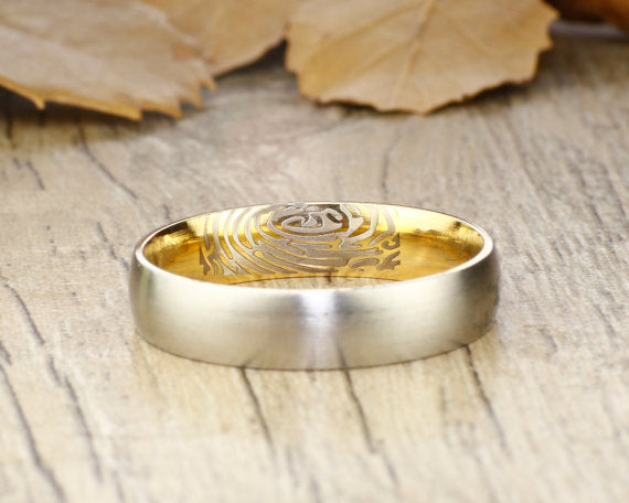 Your Actual Finger Print Rings, Thumb Print Rings Women Ring, Personalized Matt Gold Wedding Titanium Ring 5mm