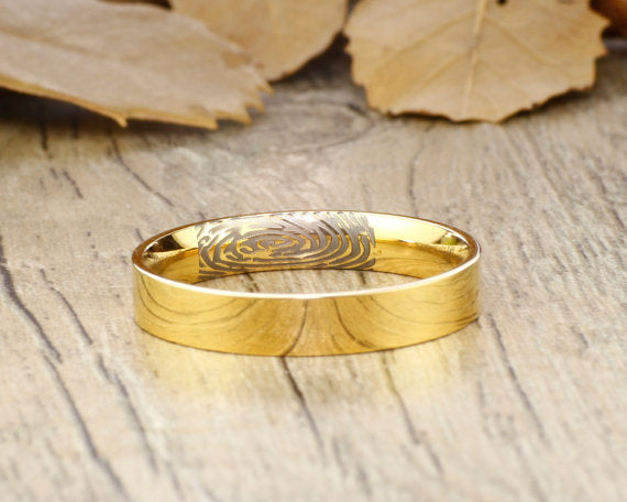 Your Actual Finger Print Rings, Handmade Gold Flat Plain Finger Print Ring, Wedding Band, Women Ring, Couple Ring, Titanium Ring