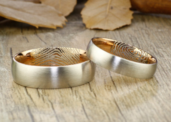 Your Actual Finger Print Rings, His and Her Rings, WEDDING RING - Personalized Matt Two Tone Rose Gold Wedding Titanium Rings Set