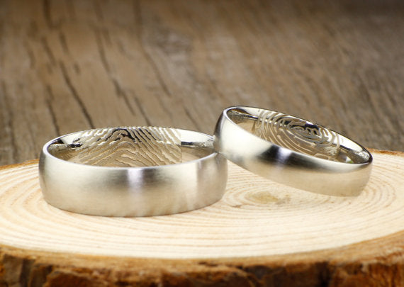 Your Actual Finger Print Rings, His and Her Rings, Personalized Matt Silver Wedding Titanium Rings Set