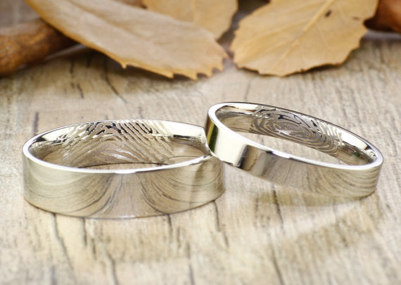 Your Actual Finger Print Rings, His and Her Promise Rings -Sliver Wedding Titanium Rings Set