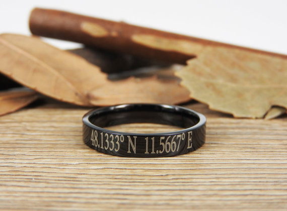 Latitude Longitude Jewelry Custom Coordinate Jewelry Engraved Titanium Rings Set - Coordinates Rings