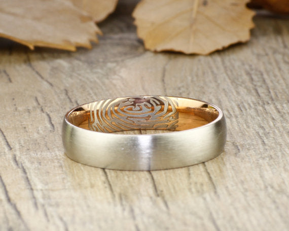 Your Actual Finger Print Rings, Handmade Women Dome RINGS - Two Tone Rose Gold Titanium Rings 5mm