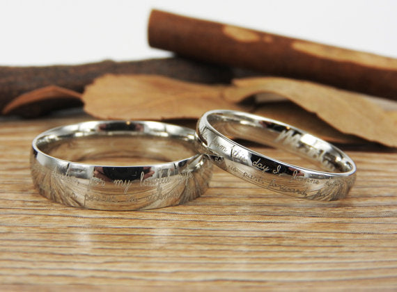 Handmade Handwriting rings, Signature rings, Initial ring, Personalized ring, Matching Wedding Bands, Titanium Couple Rings Set